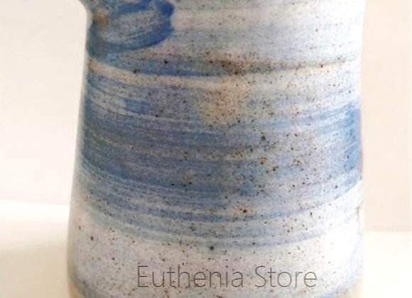 Aqua Blue Ceramic Pottery Milk Jar