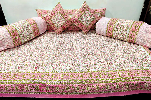 Cotton Diwan Set Peach Pink