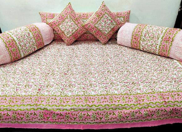 Cotton Diwan Set Peach Pink