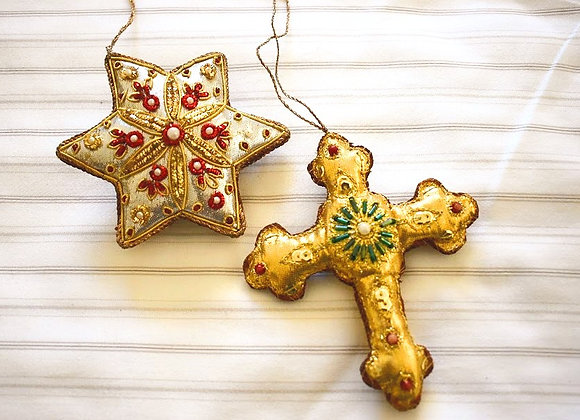 Cross & Star Christmas Hanging Pair
