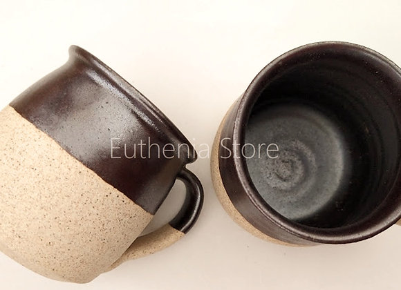 Hand Glazed Dual Tone Brown Cups (Set of 2)