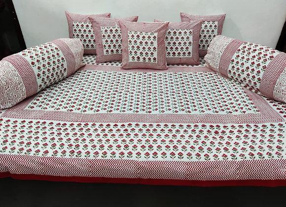 Cotton Diwan Set Pink Red Floral