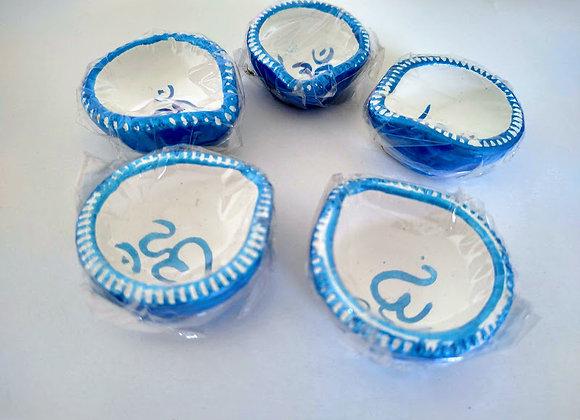 Blue Om Diya Set