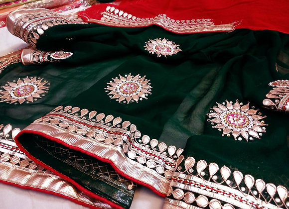 Green & Red Gota Saree