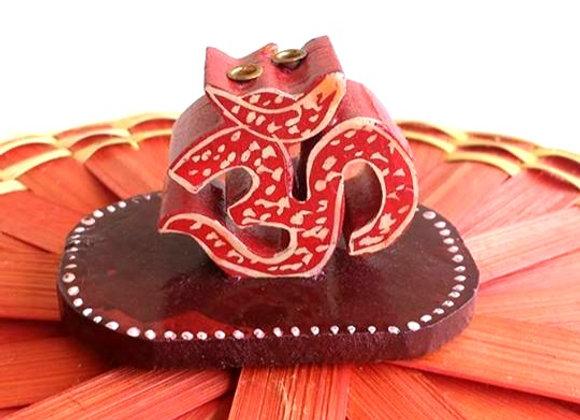 Hand Painted Wooden Om Incense Stick Holder