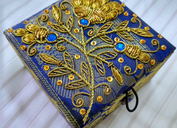 Zardozi Work Blue Gift Box