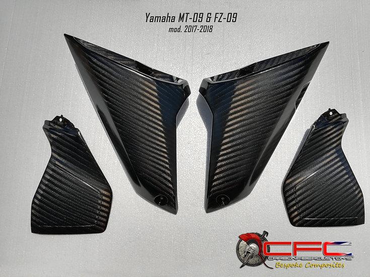 Yamaha MT-09 & FZ-09 Carbon Fiber Air Intake Fenders & Tank Side Panels (4pcs)