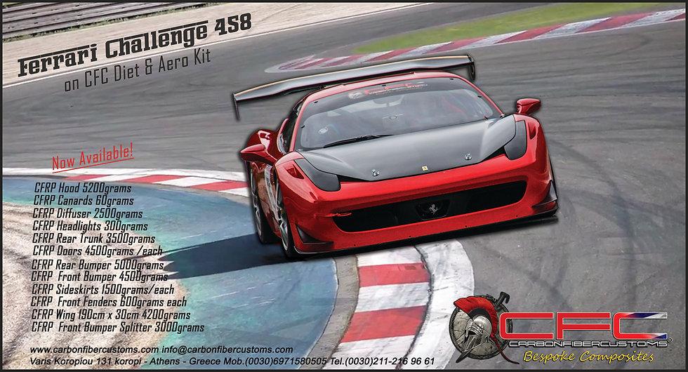 Ferrari Challenge 458 Carbon Fiber Racing EVO Style Front Bumper