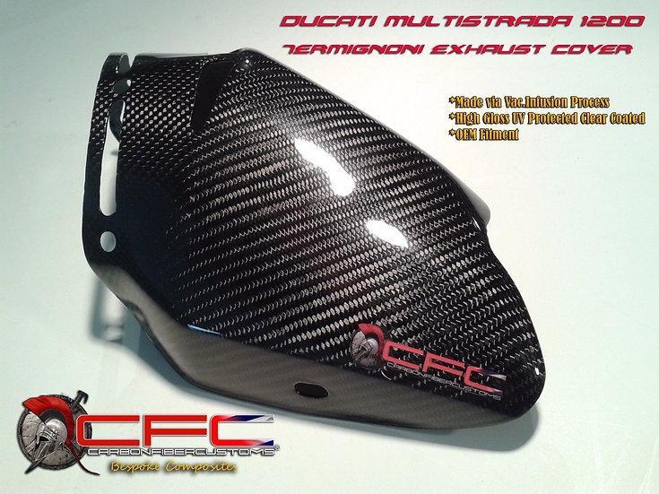 Ducati Multistrada 1200 Carbon Fiber Exhaust Cover for Termignoni Exhaust