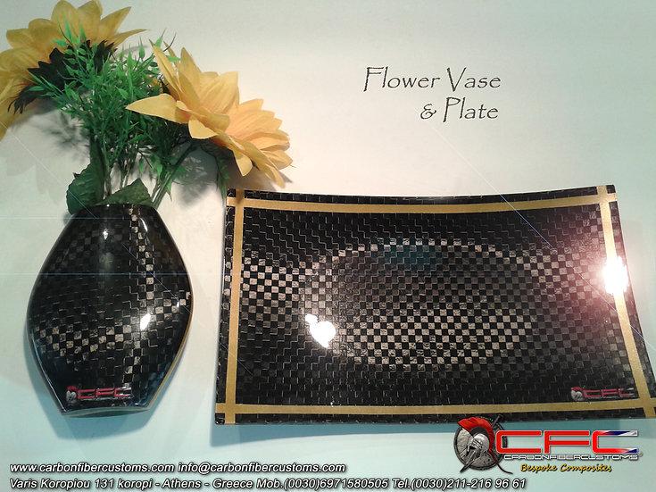 Carbon Fiber Flower Vase & Plate