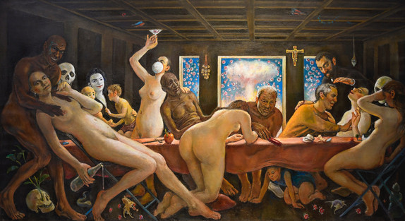 "Love in The Tme of Covid. Final Supper. 44"" x 82"" 2020"