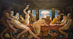 """Love in The Tme of Covid. Final Supper. 44"""" x 82"""" 2020"""