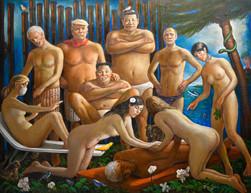 """Epstein in Paradise. 62"""" x 82"""""""
