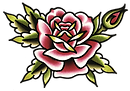 Traditional Rose Tattoo Flash, flash, flower tattoos, color tattoos, black and grey tattoos, tattoo lines, tattoo trends, tattoo styles, tattoo questions