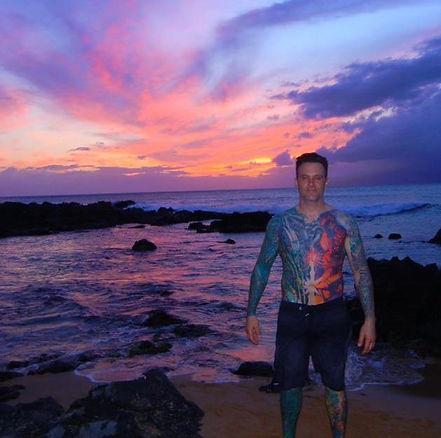 male tattoo artist Outer Limits Tattoo Costa Mesa, color tattoos, biomechanical, ocean tattoos