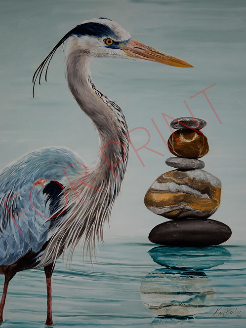 """""""Blue Heron"""" By Kari Barba -- Numbered and signed (of 50) High Quality P"""