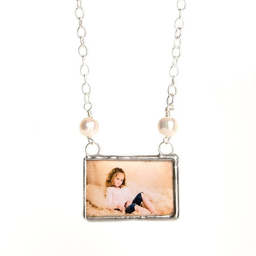 Glass soldered necklace with freshwater pearls