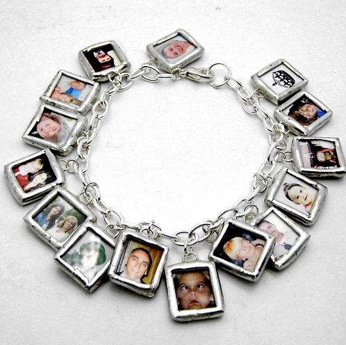 Glass soldered cha cha mini photo charm bracelet