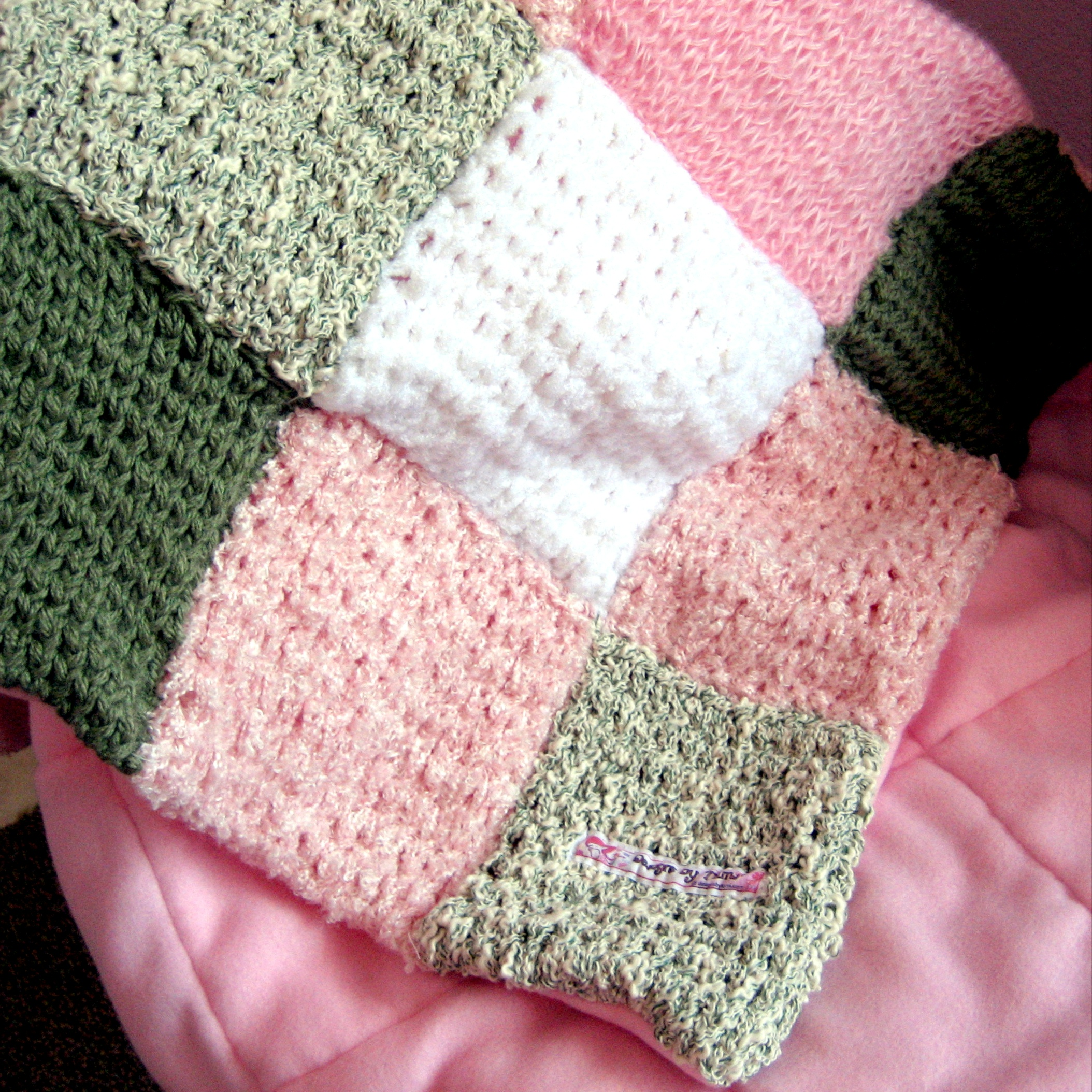 Knitted patchwork and fleece quilt