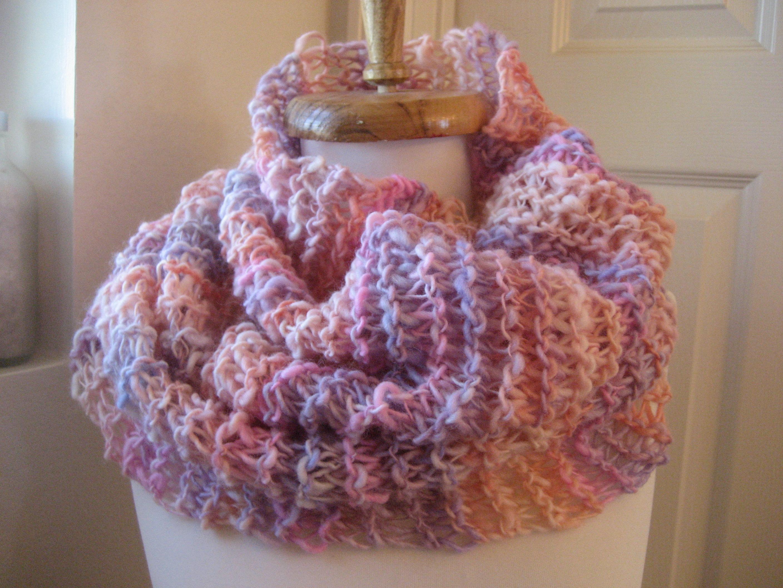 Multi pink handknit cowl