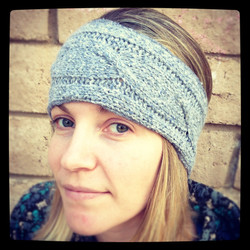 Gray cabled headwrap
