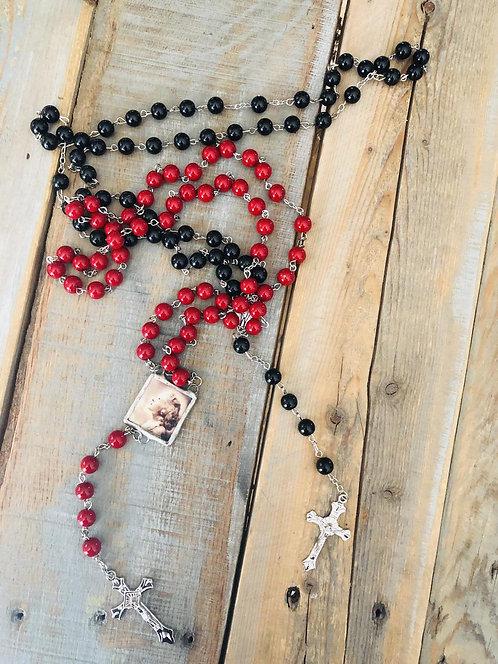 Custom photo rosary bead charm necklace reversible