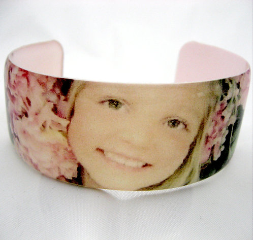 Custom resin photo cuff bange bracelet