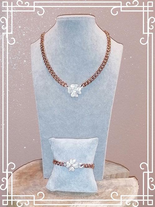 Girocollo e bracciale maglia larga rose acciaio nickel free
