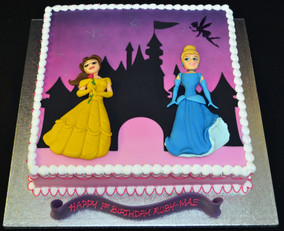CINDERELLA & BELLE WITH CASTLE SILHOUETT