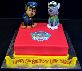 PAW PATROL CHARACTERS AND BADGE ON SQUAR