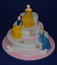 3 tier with Belle Snow White & Cinderell