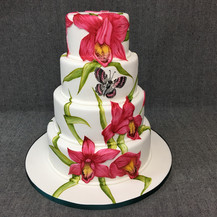 Wedding cake with painted lillies.JPG