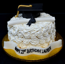 Frosting rosettes with mortar board and