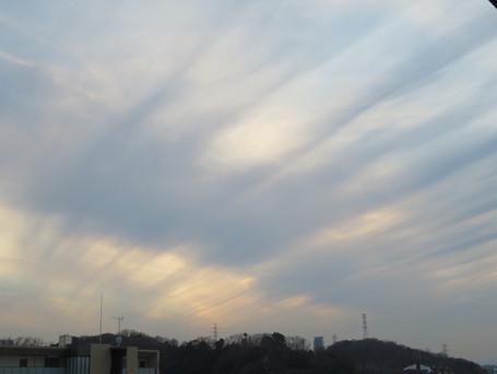 低い雲ですが筋状です。