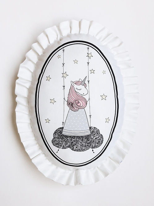 Poduszka dekoracyjna La Lune z falbaną - Jednorożec