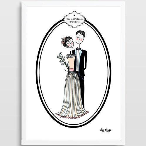Spersonalizowany Plakat Ślubna Para