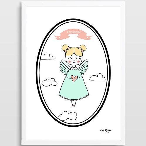 Spersonalizowany Plakat Aniołek (mięta)