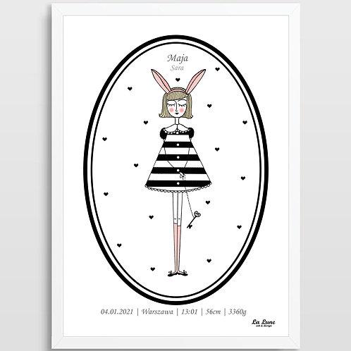 Spersonalizowany Plakat Króliczka Lu (metryczka)
