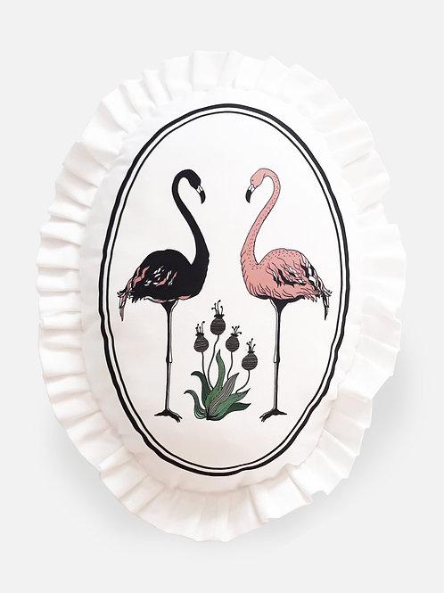 Poduszka dekoracyjna La Lune z falbaną -Flamingi