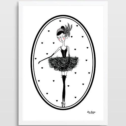 Plakat Baletnica Czarny Łabędź (serca w elipsie)