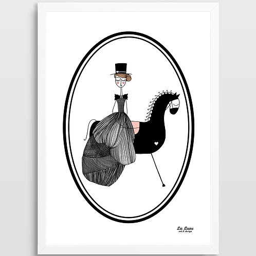 Plakat Dama na koniu