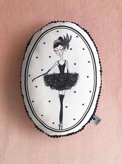 Poduszka dekoracyjna La Lune z pomponikami - Baletnica Czarny Łabędź