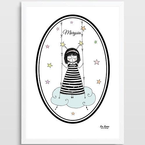 Spersonalizowany Plakat Mała Marzycielka (Pastele)