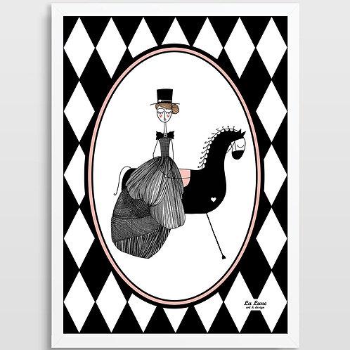 Plakat Dama na koniu (romby)