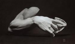 Kultegning-af-skulpturfragment-fra-Michaelangelos-Moses