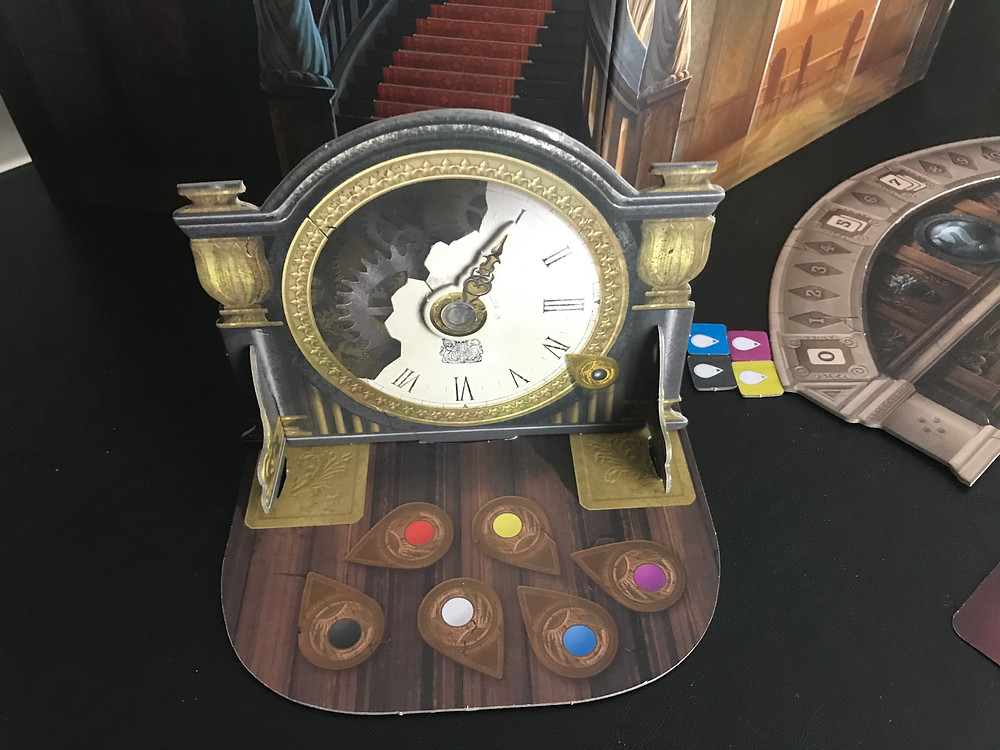 As much as I love how this tracker looks, it's actually the worst-designed piece of the entire game. The standees just don't quite fit together right, and the dial has a tendency to come loose sometimes. As great as it looks, this would be better off as a flat dial on the table. On the other hand, that would make it much harder for the Ghost to see . . .