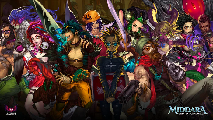 A A splash panel of all of Middara's playable characters