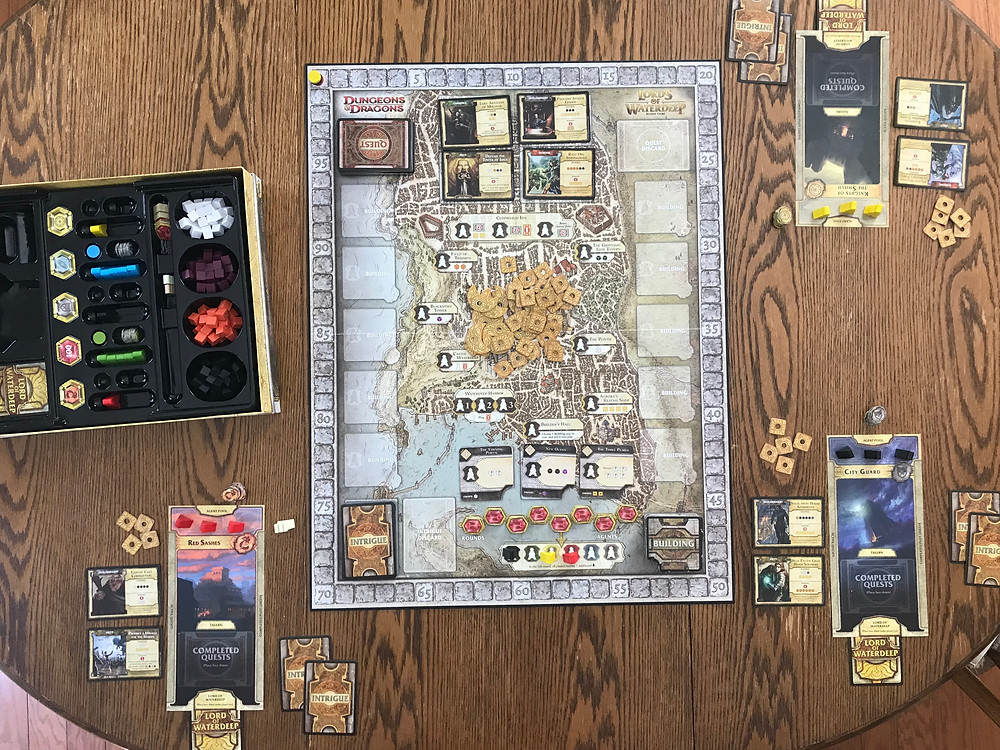 A three-player game all set up and ready to play.