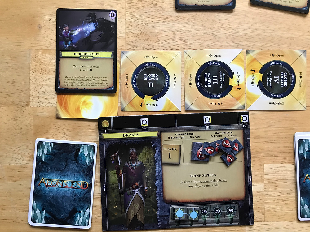 Close up of Brama's playermat with a spell prepped in Breach 1.