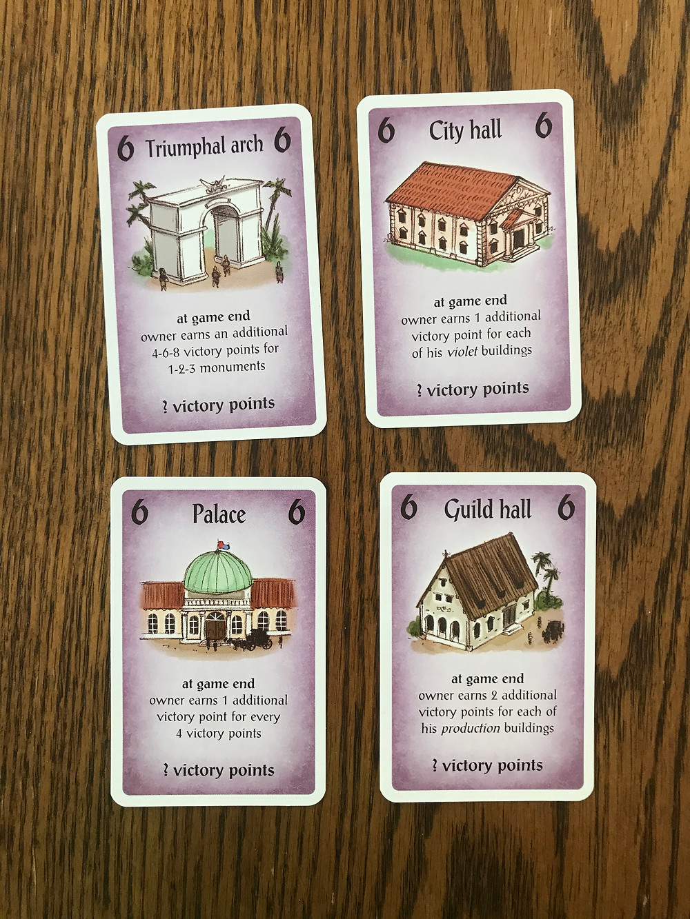 The four 6-cost buildings.